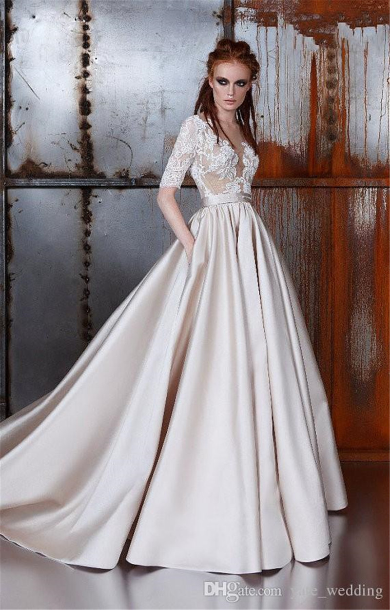 Satin Modest Wedding Dresses With Sleeves Deep V Neck Ball