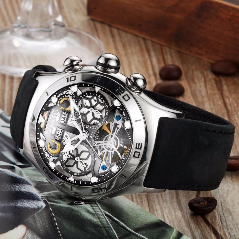 Reef Tiger/RT Luminous Sport Watches For Men Steel Tourbillon Watch Year Month Calendar Automatic Watch Relogio Masculino RGA703