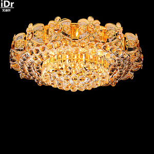 Image 1 - 2016 New round LED crystal lamp living room lobby stylish restaurant atmosphere bedroom villa gold Ceiling Lights   Dia1000mm