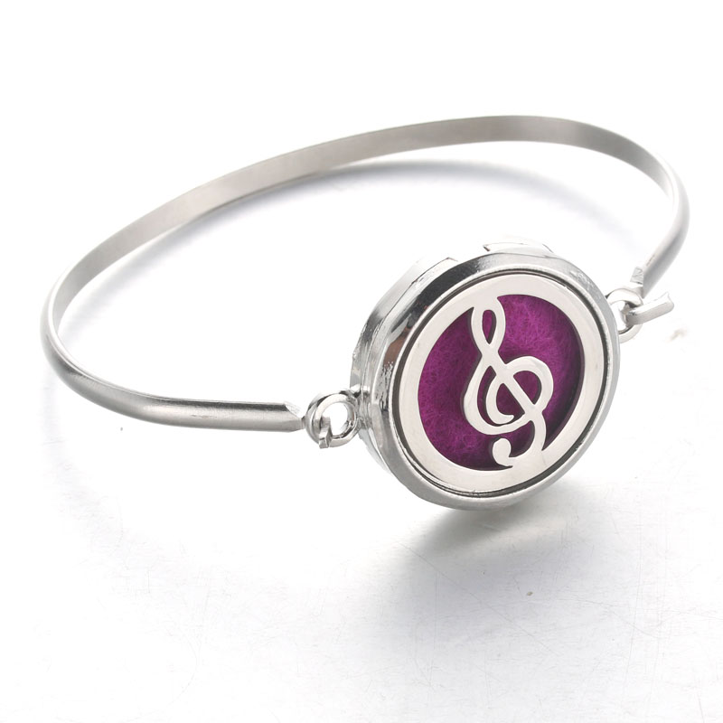 Bo Bo world Aromatherapy Perfume Essential Oil Diffuser Locket Bracelet Silver Stainless Steel Notes Perfume Bangle Magnetic BF4