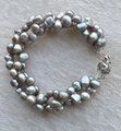 Perfect Women's Pearl Jewelry,Dark Gray 100% Real Freshwater Pearl Bracelet,3Rows 6-7mm Wedding Party Bracelet