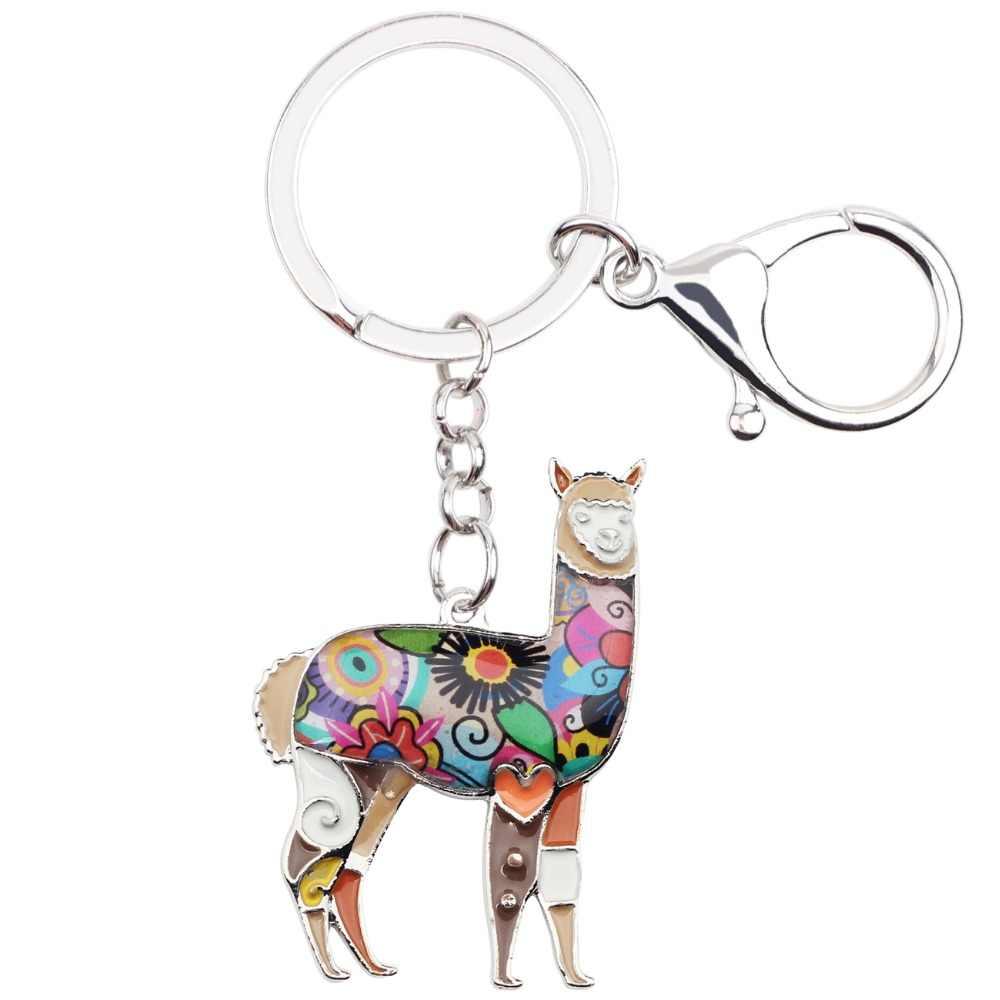 Bonsny эмалированный сплав южноамериканский цветочный Альпака Коза брелоки для женщин сумка брелоки подвески брелоки модные ювелирные изделия овцы