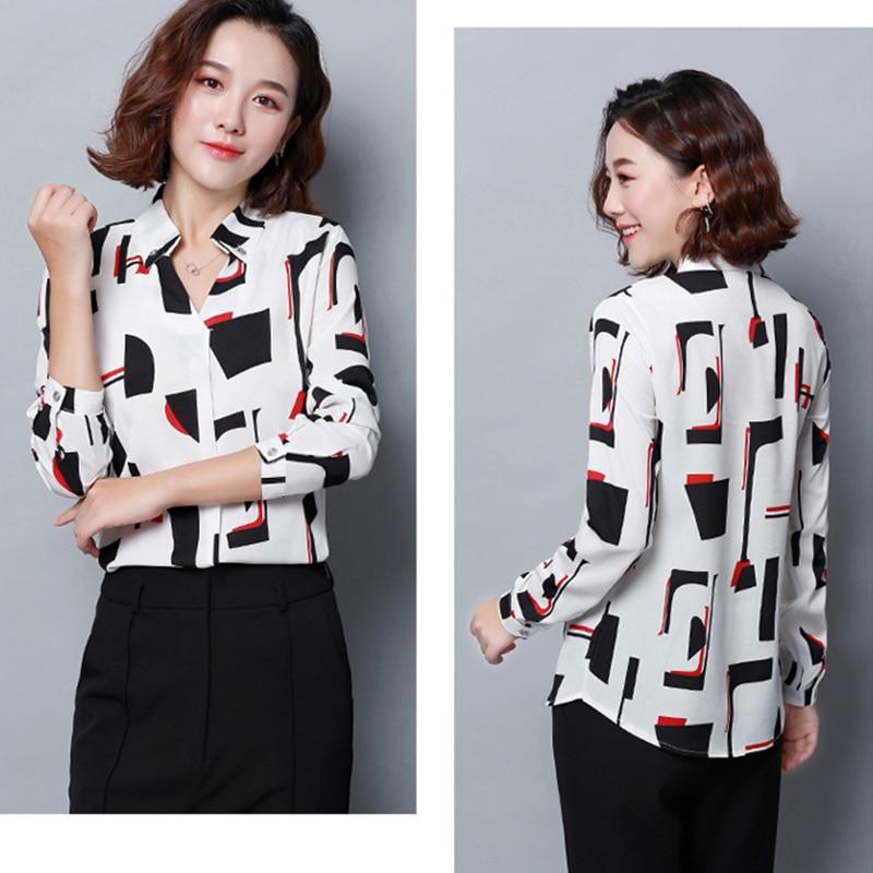 2019 Spring Women office lady Chiffon Shirt blusas femme V-Neck Cotton Geometric Print Blouse elegant Long sleeve Striped Blouse 2