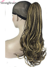 StrongBeauty Synthetic Hair Red Blonde Brown Black Braid Drawstring Ponytail Clip in/on Hair Extensions Hairpieces 15Colors