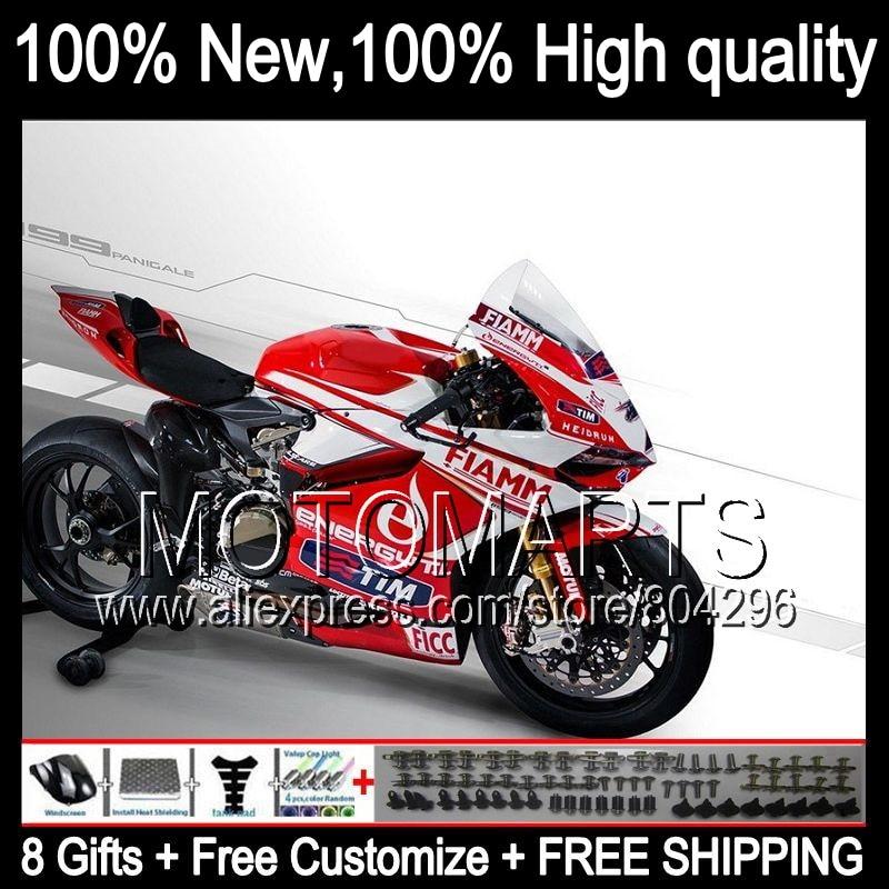 Комбинезоны для Ducati 1199 1199 S fiamm красный panigale 12 13 2012 2013 11JK56 12 13 Красный Белый fiamm 1199 1199 S Инъекции обтекатель комплект