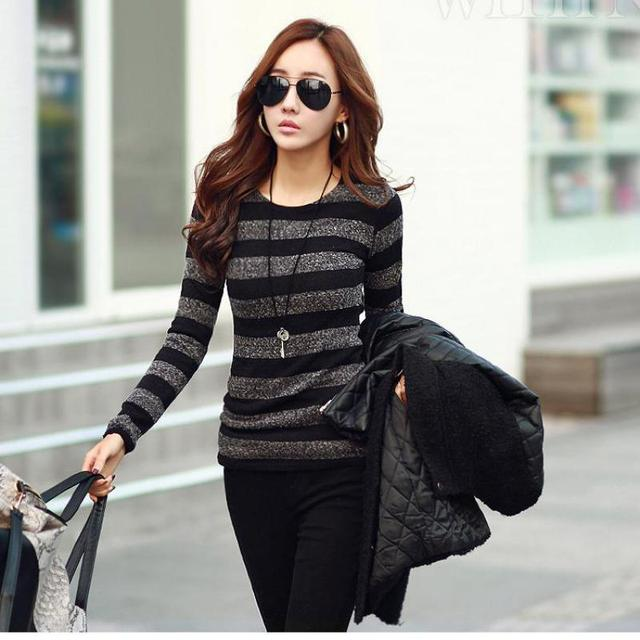 2017 Winter Women Sweater Fashion Stripe Black White Print O-neck Knitted Pullover Female Clothes S-xxl 5