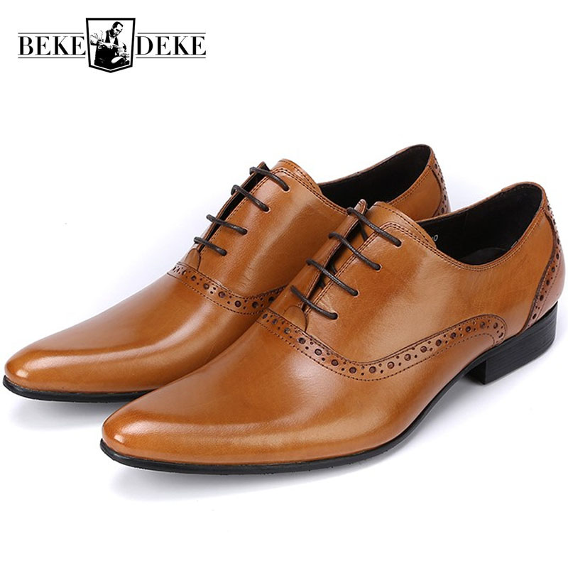aliexpress.com - 2018 New Genuine Leather Mens Formal Brogue Man Office Party  Wedding Lace Up Dress Brown Shoes British Retro Pointed Toe Shoes -  imall.com bd4540f07c65