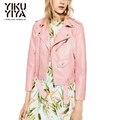 YIKUYIYA New Baby Pink PU Short Biker Jacket Classic Short Basic Jackets Women Outwear Adjustable Waist Chic Motorcycle Jacket