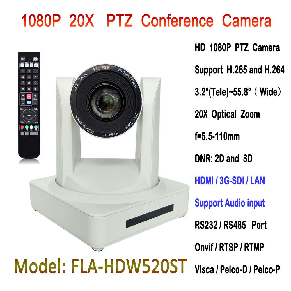2MP 20x Optical Zoom 3g-sdi IP broadcasting conferencing ptz video camera with hdmi output image