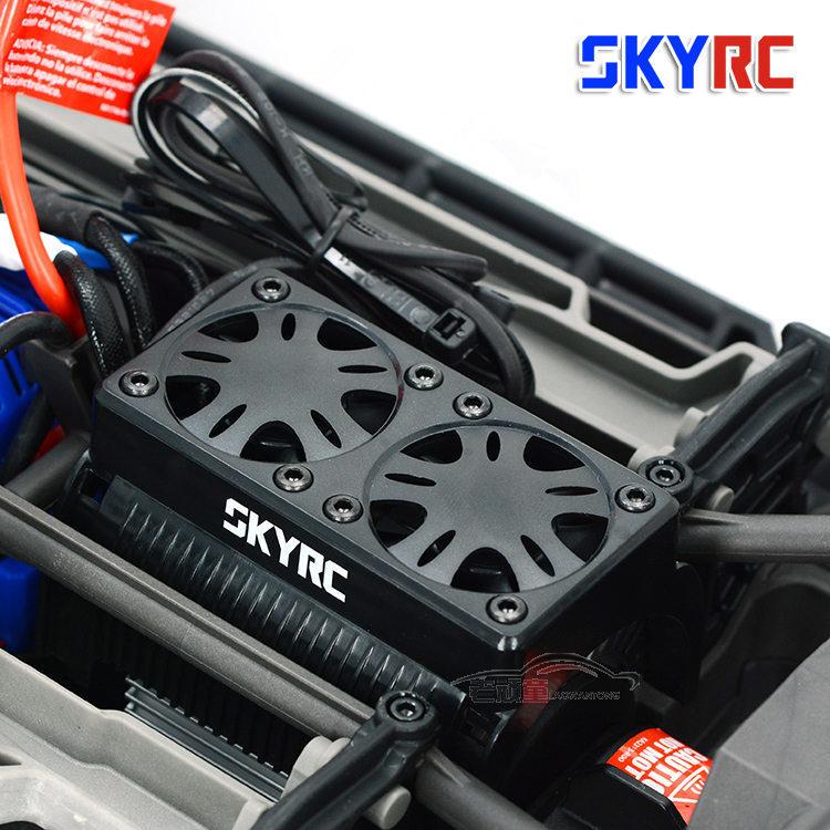 SKYRC 55mm duplas Fã 5V 1/5 RC motor Brushless Motor de Refrigeração Do Radiador com Habitação Trax X-Maxx