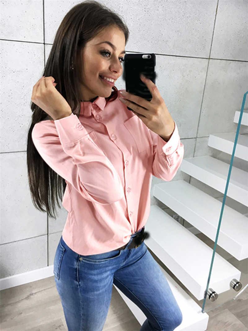 AVODOVAMA M wiosna lato kobiet bluzka biuro panie z długim rękawem koszulki z krótkim rękawem topy nowe ubrania