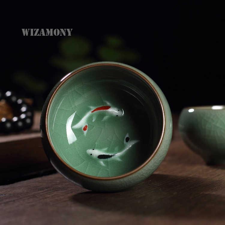 Wizamony 2ピース新しい到着5色中国龍泉青磁の磁器中国ティーソーサー茶ボウル黄金魚茶ポット茶セット