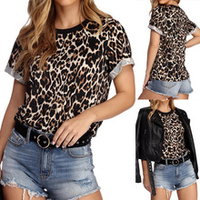 Europe and America 2019 Women new Casual Cute Leopard Print Khaki T Shirts Neck Short Sleeve Soft Tee Shirt woman clothes