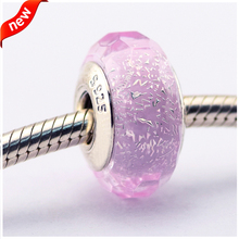 Se adapta a pandora pulseras brillo de color rosa bolas de plata 100% de plata de ley 925 encantos de la joyería diy al por mayor 08p5026a