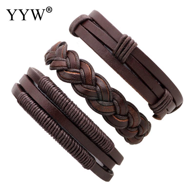 YYW 3Pcs 1 Set Multi Style PU Leather Bracelet
