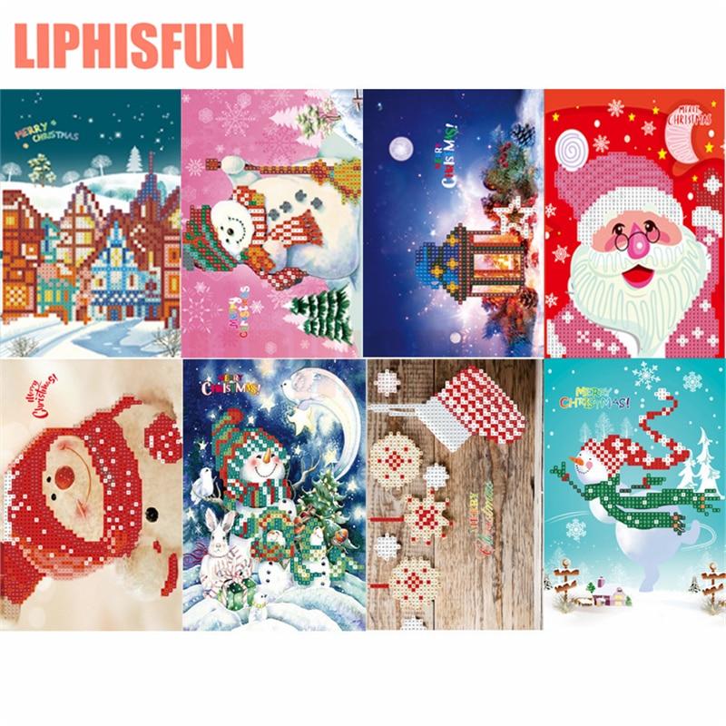 8pcs Diamond Painting Christmas Cards Diamond Stickers Children's Handmade Cartoon Paper Greeting Postcard Craft Merry Christmas