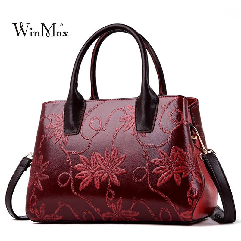 Luxury Brand Women Bag Leather Handbag Female Shoulder Bag Embroidery Tote Bag Ladies Messenger Hand Bags