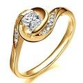 Único Laboratorio Crecido Diamond 14 K 585 Oro Amarillo de Halo Princesa Moissanites 0.5CT Anillo De Bodas Florales Para Las Mujeres Regalos de Joyas