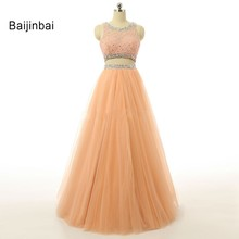 Baijinbai 2017 Two Piece Orange Long Prom Dresses Special Occasion Beaded Lace Vestidos Formal Evening Party Gowns Custom Made