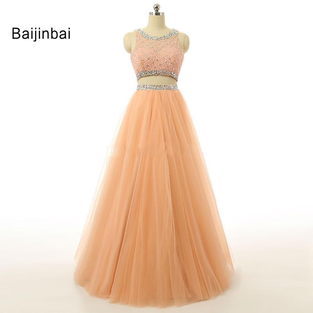 Baijinbai 2019 Two Piece Orange Long   Prom     Dresses   Special Occasion Beaded Lace Vestidos Formal Evening Party Gowns Custom Made