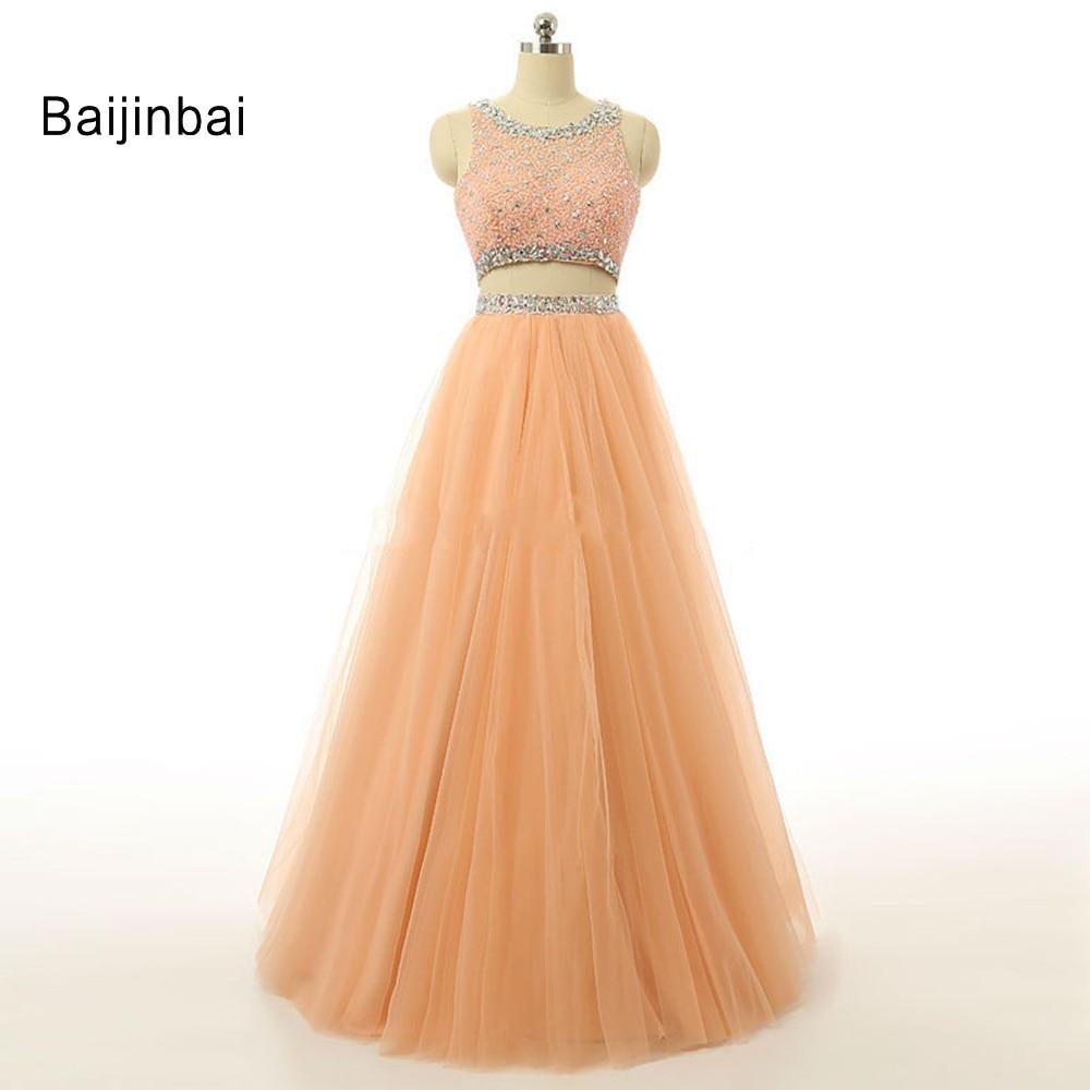 Baijinbai 2019 deux pièces Orange longues robes de bal Occasion spéciale perlée dentelle robes de soirée formelles robes de soirée sur mesure