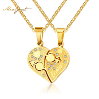 Meaeguet Male Female Symbol Heart Necklace Pendant Silver And Gold Color Couple Love Forever Wedding Stainless
