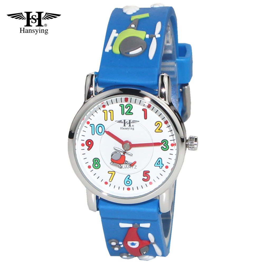 Hansying Hansying Little Boys Children Girls Wrist Kids 3D Band Watch Cartoon Helicopter Second Hand Design Waterproof Watches