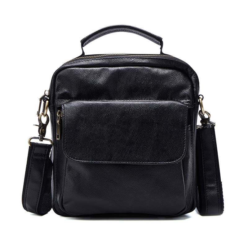TIDING men casual business genuine leather crossbody messenger shoulder tote bag, small high quality