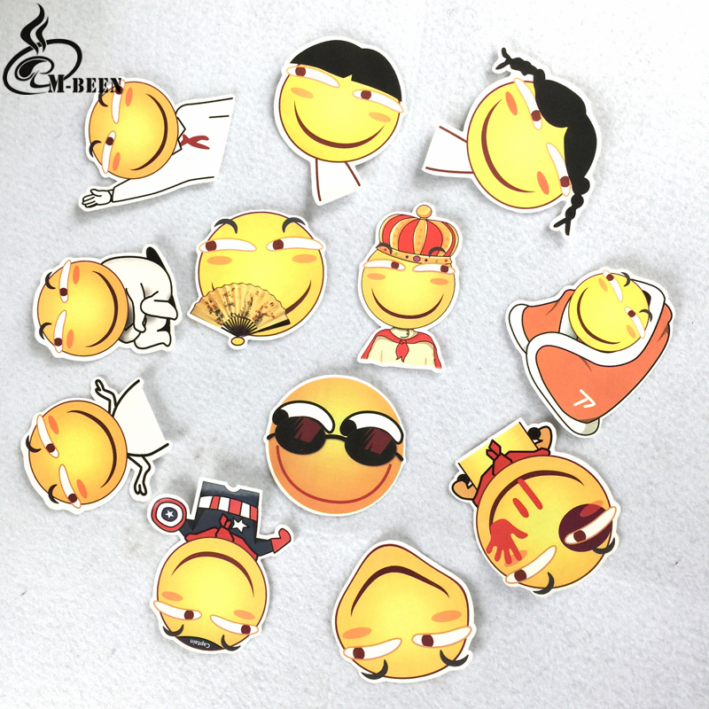 12pcs/ Funny Emoji smile face Stickers For Car suitcase laptop ...