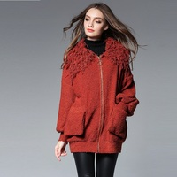 2017 New Autumn Women Loose Drop Shoulder Sweater Female Big Turn Down Collar Knitted Outwear Plus