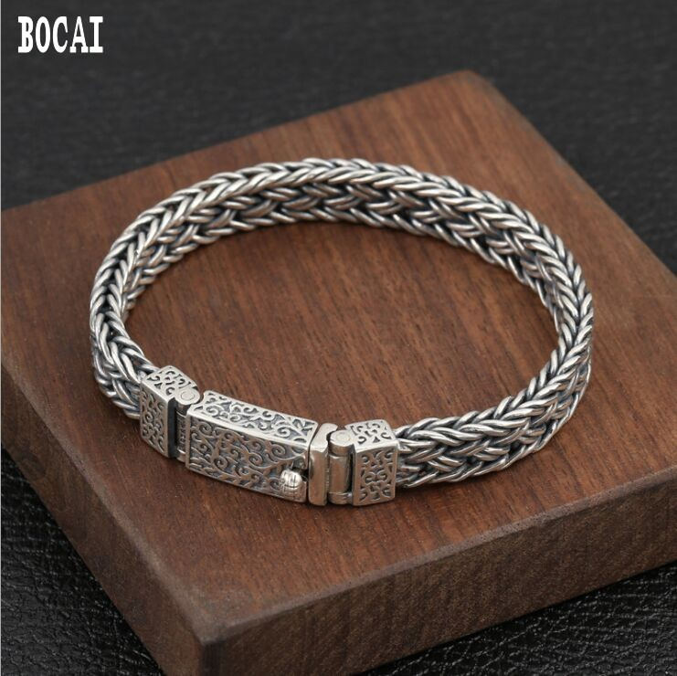 100% real s925 sterling silver wrist chain jewelry fashion personality men woven vintage Thai silver buckle bracelet100% real s925 sterling silver wrist chain jewelry fashion personality men woven vintage Thai silver buckle bracelet