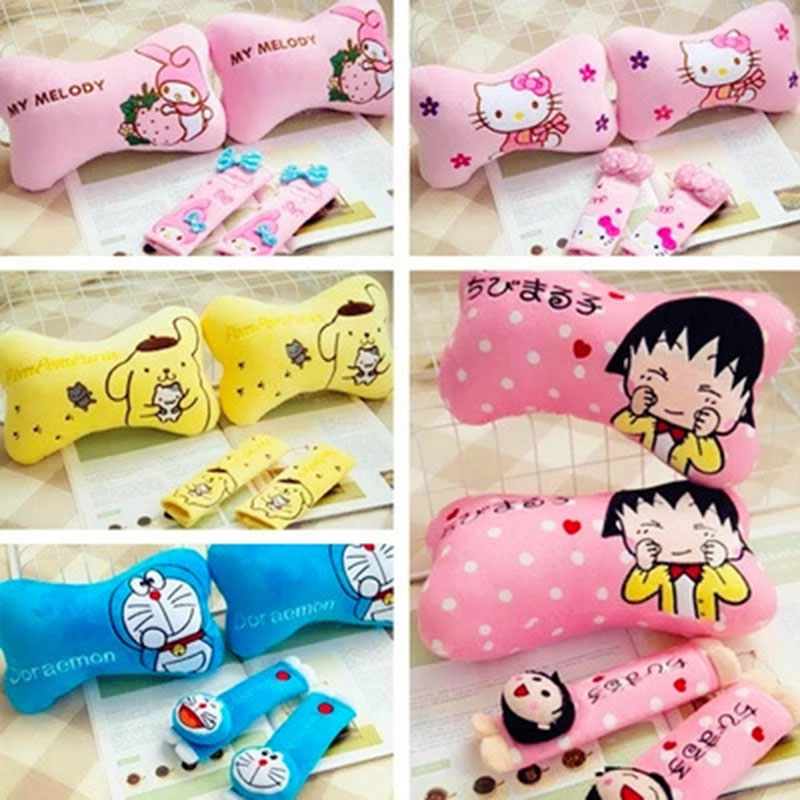 Cartoon Doraemon Car Neck pillow Headrest Cute Pink Hello Kitty KT Seat Cover Belt Auto Safety Neck Pillows For Girls