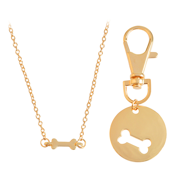 Best Friend Jewelry Human Dog Bone Charm Necklace and Matching Necklace Friendship Pet Jewelry Dog Lover Gift