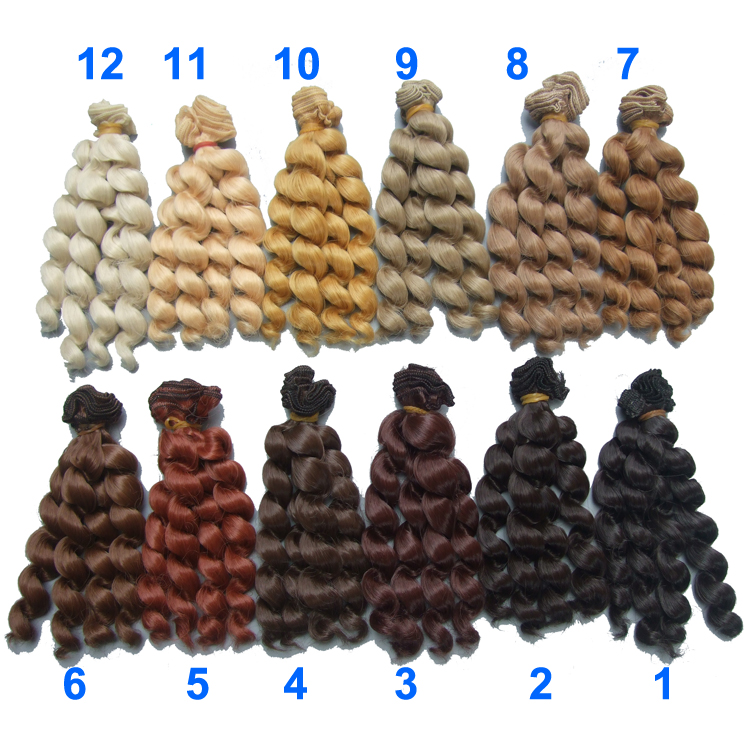 1 piece 15cm x 100cm brunette blonde black brown natural color curly high temperature doll wigs