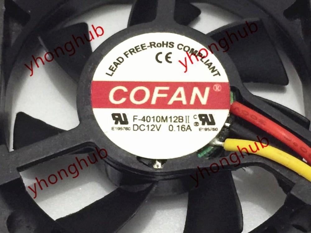 Emacro For COFAN F-4010M12BII DC 12V 0.16A 40x40x10mm 3-wire Server Cooler Fan