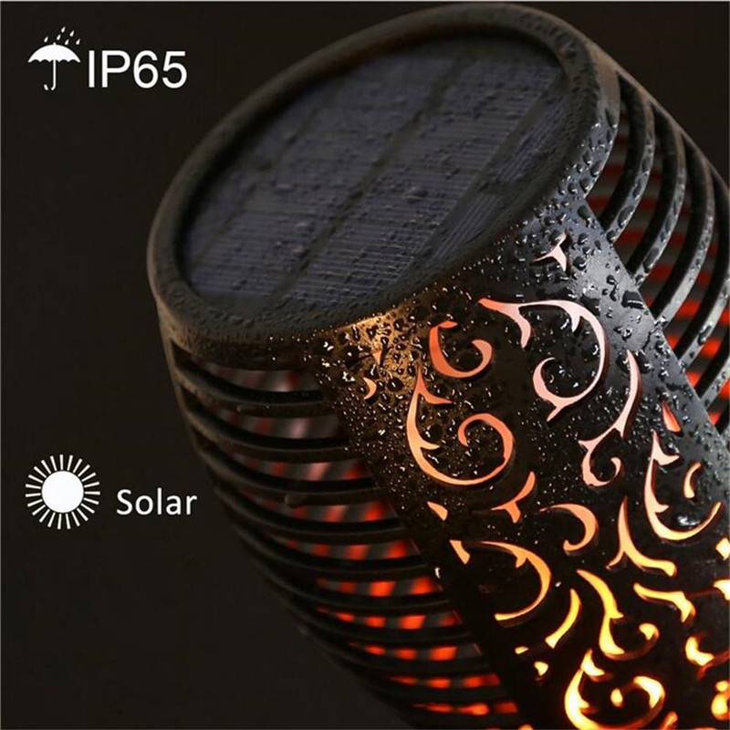 cheapest Solar powered LED Flame Lamp Waterproof 96LEDs Lawn Flame Flickering Torch Light Outdoor Solar LED Fire Lights Garden Decoration