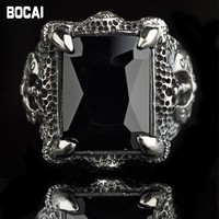 Black silver jewelry wholesale 925 sterling silver jewelry inlaid CZ Longzhua axe Men Ring 023605w domineering