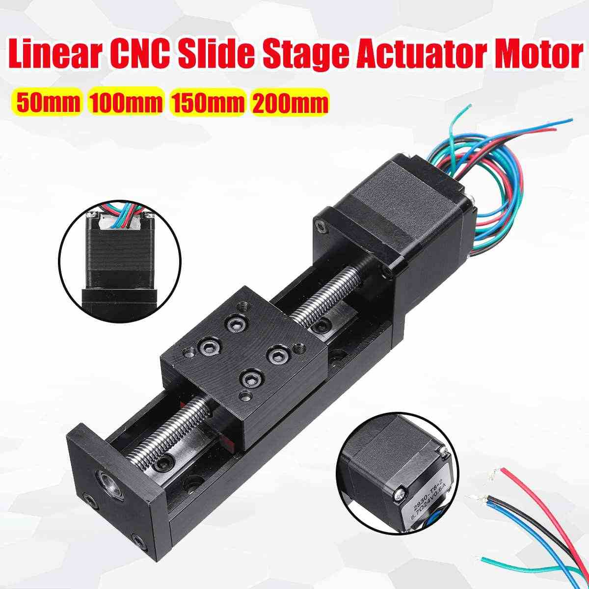 CNC Linearท่องเที่ยวStage Rail Motionสไลด์Actuator 50/100/150/200มม.T6 * 2มอเตอร์Stepperจังหวะสำหรับ3Dเครื่องพิมพ์XYZ