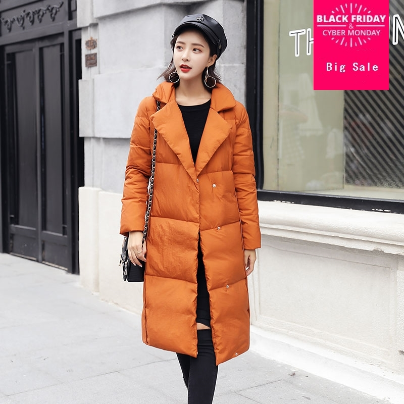 Factory outlet Winter British style stitching design real duck   down     coat   female longer oversize warm   down     coat   wq591 dropship