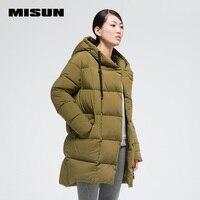 Misun 2017 nouveau automne hiver doux peau-amical avec un capot thermique épaississement moyen-long manteau femmes survêtement MSD-G524