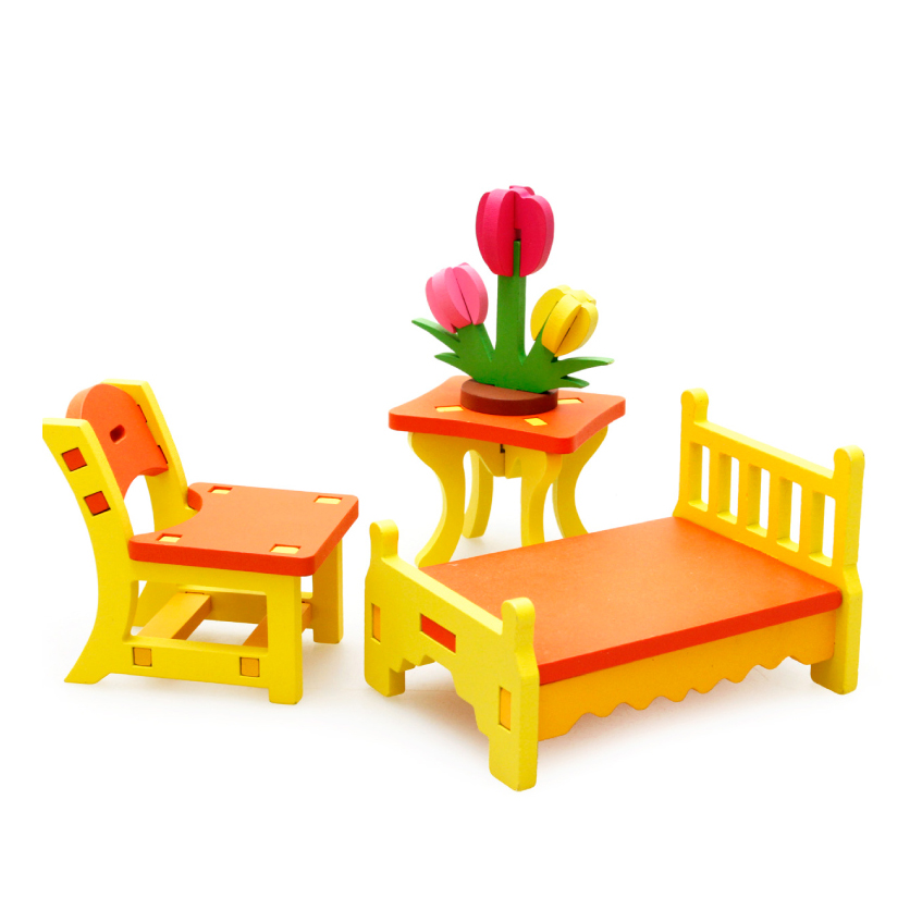 Chanycore Baby Learning Educational Wooden Toys Blocks Assemblage Play House Bed Chair Table mwz Enlightenment Kids Gifts 4201