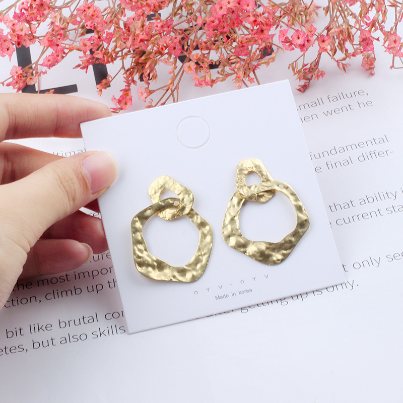 12pairs/lot irregular metal geometry Earrings temperament matte light anti allergy Earrings