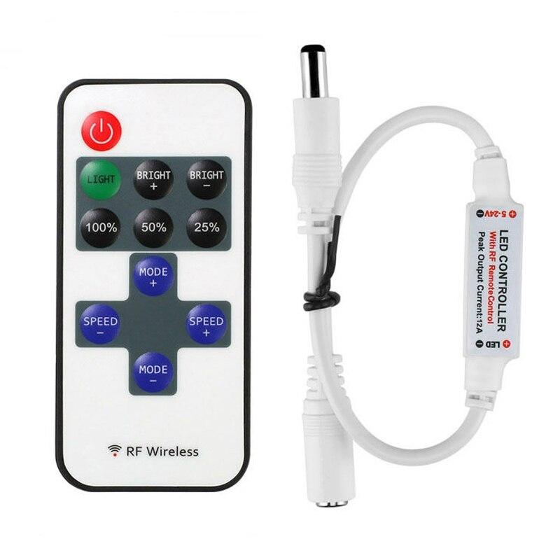 12 24 V 11 Keys RF LED Strip Controller Mini Dimmer Remote DC 5V 12V 24V For 5050 2835 Single Color