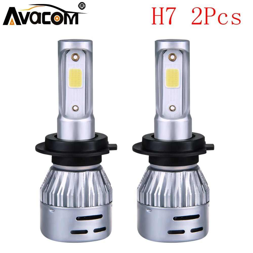 Avacom 2Pcs H7 LED Mini Car Headlight Bulb 12V 3000K 4300K 6500K 8000K 8000Lm COB 24V H7 LED Light Auto Ampoule LED Voiture