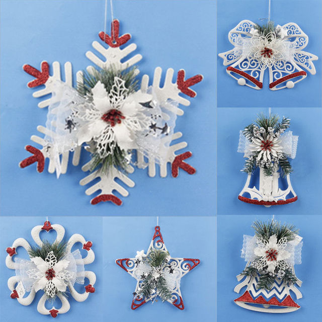 christmas snowflake santaclaus snowman tree hanging christmas tree ornament hand made polymer clay christmas decoration for