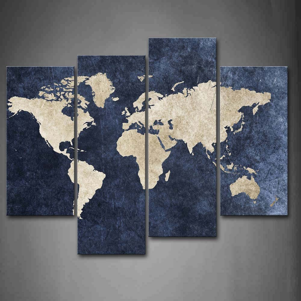 Piece World Map Canvas Wall Art By Hand Painted Oil Painting - Cheap world map canvas