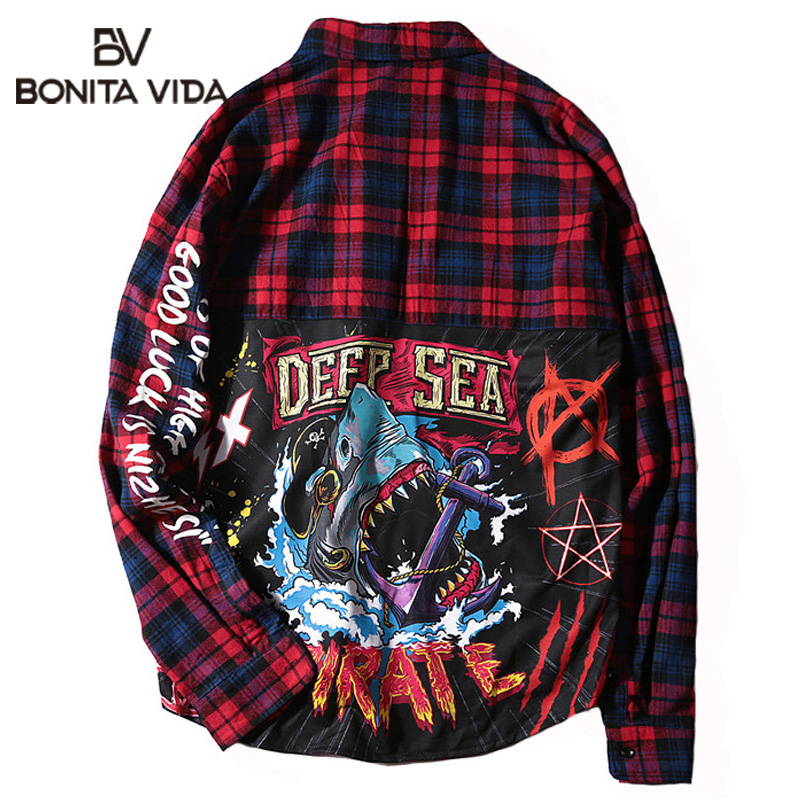 Bonita Vida Flannel Hip Hop Shark Printed Long Sleeve Plaid Shirt Men 2019 Streetwear Casual Cotton Extended Male Shirts