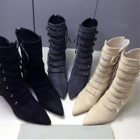 2017 New Arrivals European Style Pointed Toe Suede Ankle Boots Women Lace Up Beige Boots Rivet Boots Med Heel Women Short Boots