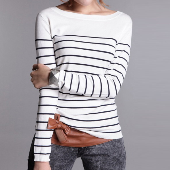 Hot Sale Women s Knitted Cashmere Sweater Plus Size Stripe Black White Woman Winter Clothes Pullover