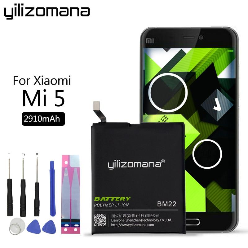 YILIZOMANA BM22 Phone Battery for Xiaomi Mi 5 M5 Mi5 Replacement Bateria 2910mAh High Quality Retail